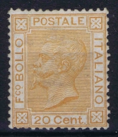 Italy Sa Nr 28 , Yv Nr 24  MH/*  Signed/ Signé/signiert/ Approvato BRUN - 1861-78 Victor Emmanuel II.