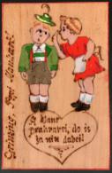 0170 Alte - Holz Holzbrandkarte Humor Cartoon Kunstpostkarte Künstlerkarte CP Wien Chemnitz 1939 - Ansichtskarten