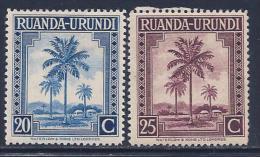 Ruanda Urundi, Scott # 71-2 Mint Hinged Oil Palms, 1942 - 1924-44: Mint/hinged
