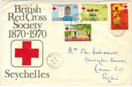 SEYCHELLES - 1970 - BRITISH RED CROSS SOCIETY 1870-1970 - FULL SET - FDC - Viaggiata Da Victoria Per London - Seychelles (1976-...)