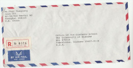 REGISTERED Air Mail CHINA COVER  To USA With Stamps On The Back - Physics