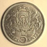 @Y@    Letland   5  Lathi   1931  Prooflike  Ag   ( 2869 ) - Lettonie