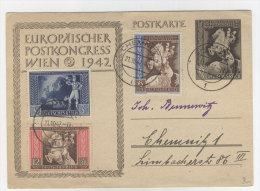 Deutsches Reich Ganzsache P 284 gebraucht + ZF No. 820 - 822