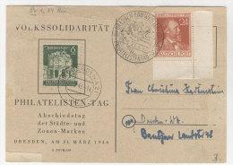 Karte Volkssolidarit�t Philatelisten Tag 1946 / oben eingerissen