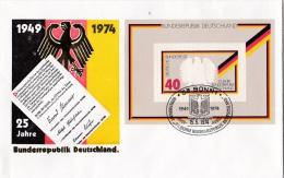 Germany FDC: 1974 25 Years Deutschland Minisheet   (L71-13) - FDC: Buste