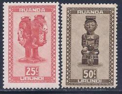 Ruanda Urundi, Scott # 93,95 Mint Hinged Carved Figurines, 1948 - Ruanda-Urundi