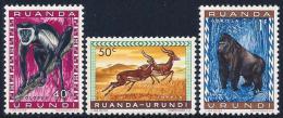 Ruanda Urundi, Scott # 139-40 Mint Hinged, 141 MNH Animals, 1959 - Ruanda-Urundi