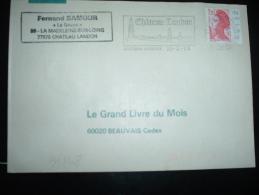 LETTRE TP LIBERTE DE GANDON 2,20 CARNET BORD NUMEROTE 84132 OBL.MEC.20-2-1986 CHATEAU LANDON (77 SEINE ET MARNE) - 1982-90 Libertà Di Gandon