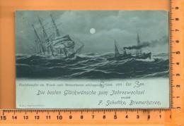 BREMERHAVEN: Fischdampfer Ein Wrack, Carte De Voeux Effet Nuit De F. Schottke - Bremerhaven