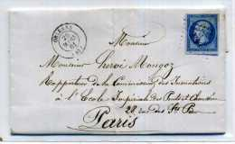 LETTRE DE ORLEANS POUR  PARIS 1861 / - Marcophilie (Lettres)