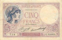 BILLET 5 FRANCS TYPE VIOLET - 1871-1952 Antichi Franchi Circolanti Nel XX Secolo