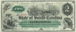 U.S.A.  2 $  State of South Carolina.  1872 t  Issued note  UNC / FdS