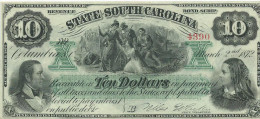 U.S.A.  10 $  State of South Carolina  1872  issued note  UNC/ FdS