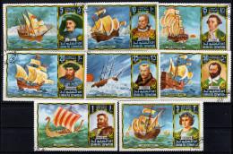 Umm Al Kaimain 1972 - Seefahrer Und Ihre Segelboote - MiNr.832-839 Kompletter Satz - Schiffe
