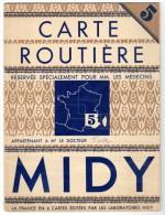 Carte Routière Midi ( Réservée Spécialement Pour MM. Les Médecins ) N°5, Sud-est & Corse - Cartes Routières