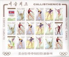 PDR Korea Sc #3379 1994 Olympics Calisthenics Gymnastics IMPERF Sheetlet Of 15 Mnh / ** Flags Sports - Korea, North