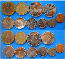 ZIMBABWE FULL SET 10 MONETE CON BIMETALLICA 25$ 10$ 5$  2$ 1DOLLARO + 50 20-10-5-1 CENT - Zimbabwe