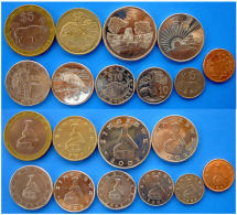 ZIMBABWE FULL SET 10 MONETE CON BIMETALLICA 25$ 10$ 5$  2$ 1DOLLARO + 50 20-10-5-1 CENT - Simbabwe
