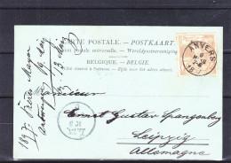 Belgique - Carte Postale De 1897 - Exposition De Bruxelles - Oblitération Anvers - Exp Vers L'Allemagne - Valeur 12,50 € - 1894-1896 Exhibitions