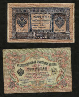 RUSSIA - RUSSIAN EMPIRE - 1 ROUBLE (1898) - 3 ROUBLES (1905) - 5 ROUBLES (1909) - Lot Of 3 DIFFERENT BANKNOTES - Russia