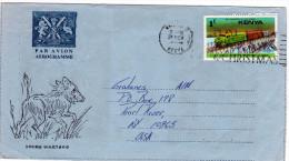 Kenya:  Aérogramme De Voeux Timbre Train Illustration Phacochère Photos Et Voeux Pour Noel à L'intérieur - Kenia (1963-...)