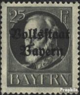 Bavière 122II Un Neuf Avec Gomme Originale 1919 King Ludwig Avec Surcharge - Bayern (Baviera)