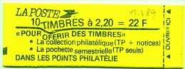 """LIBERTE 2,20 F Rouge - Carnet YT 2376 C6 - VARIETE """"ONDULATION SUR COUVERTURE """" - Usage Courant"""