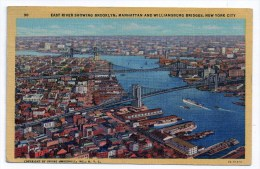 New York City, East River Showing Brooklyn, Manhattan And Williamsburg Bridges, 1949, Irving Underhill N° 30, 2 Scans - Ponts & Tunnels