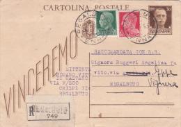 Italy 1943 Registered Postal Card 30c+20c+25c, Folded, Used - Used