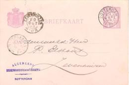 1893 Bk Van Rotterdam Naar ZEVENHUIZEN (kl.rond) Van 20 OCT 93 Met Particuliere Bijdruk - Periode 1891-1948 (Wilhelmina)