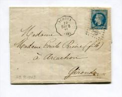 !!! CACHET DE CONVOYEUR STATION YCHOUX SUR LETTRE DE CAUDOS DE 1869 - 1849-1876: Période Classique