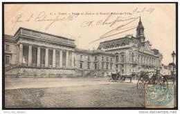 37 TOURS, En 1904, Palais De Justice Et Nouvel Hôtel De Ville, Attelage, Dos Simple, Voyagé En 1904, Bon état - Tours