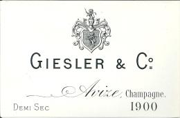 Etiquette CHAMPAGNE Giesler Millésime 1900 - Champagne