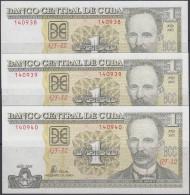 2005-BK-2 CUBA, 1$ JOSE MARTI 2005 UNC PLANCHA. 3 CONSECUTIVE - Cuba