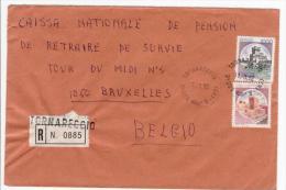 Tornareccio 11.3.1982 - Castello L.300 + L. 1000  Su Busta Raccomandata Diretta All'estero (Belgio) - 6. 1946-.. Repubblica