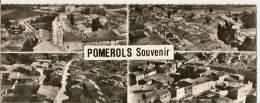 1.2-3.4 - EN AVION AU-DESSUS DE POMEROLS -  L´EGLISE - VUE GENERALE ( 4 VUES ) - France
