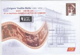 13204- GRIGORE VASILIU BIRLIC, COMEDY ACTOR, COVER STATIONERY, 2005, ROMANIA - Cinema