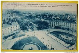 N206 37 TOURS LA PLACE DU PALAIS DE JUSTICE ET L'AVENUE DE GRAMMONT COTE NORD EST  1925 2 SCANS - Tours