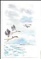 """Trois Canards En Vol. Pensée De Stijn Streuvels En 1959: """"365 Schone Dagen ... """" Peint à La Bouche Par Baker - Vogels"""