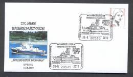 6.- GERMANY ALLEMAGNE. 2012. SPECIAL POSTMARK. BOAT PATROL. POLICE.  HAMBURG - Police - Gendarmerie
