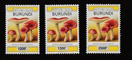 V] Série ** Complete Set Burundi Champignon Mushroom Surcharge Locale Local Overprint 2008