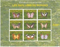 M] Feuillet ** Sheet ** Papillons Burundi 2009 Butterfly Farfalla Mariposa Papillon Insecte Insect