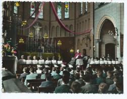 CPSM COLORISEE TRES ANIMEE PENSIONNAT DE PASSY FROYENNES, MESSE, PRIERE A LA CHAPELLE, PROVINCE DE HAINAUT, BELGIQUE - Belgique