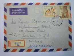 Enveloppe  Recommandée Au Départ De BRNO  à Destination De L´Angleterre  (8) - Lettres & Documents