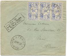 1929 NOUVELLES HEBRIDES LETTRE RECOMMANDEE POUR LA FRANCE AFFRANCHIE IDOLES OBLITERES NEW HEBRIDES 25 MY 29 VILA - Brieven En Documenten