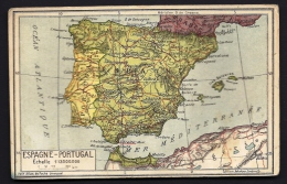 CPA ANCIENNE- FRANCE- CARTE GÉOGRAPHIQUE- ESPAGNE ET PORTUGAL- N° 14 - 2 SCANS - Mapas