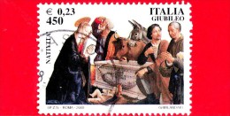 """ITALIA - 2000 - Usato - Celebrativi Del Giubileo, Vita Di Gesù - 450 L. - 0,23 € • Affresco """"natività Di Cristo Con Ador - 1991-00: Used"""