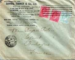 England 1906 - Firmenbrief Mit Werbeaufdruck Davies, Turner & Co, 3 Fach Frankiert Gel.v.London > Boulogne S Mer