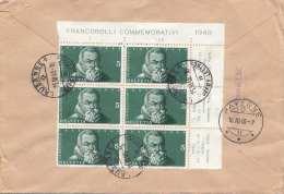 Schweiz 1948 - R-Brief Schöne 8 Fach Frankierung, 2er Streifen + 6er Block Mit Randstücken