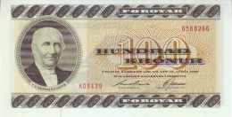 FAEROER ISLANDS 100 Kronur Banknote Hammershaimb At Left P21f 1994 UNC - Färöer Inseln